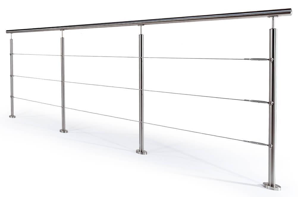 Wirerekkverk med stolper i rustfritt stål